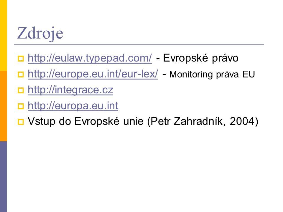 Zdroje  http://eulaw.typepad.com/ - Evropské právo http://eulaw.typepad.com/  http://europe.eu.int/eur-lex/ - Monitoring práva EU http://europe.eu.i