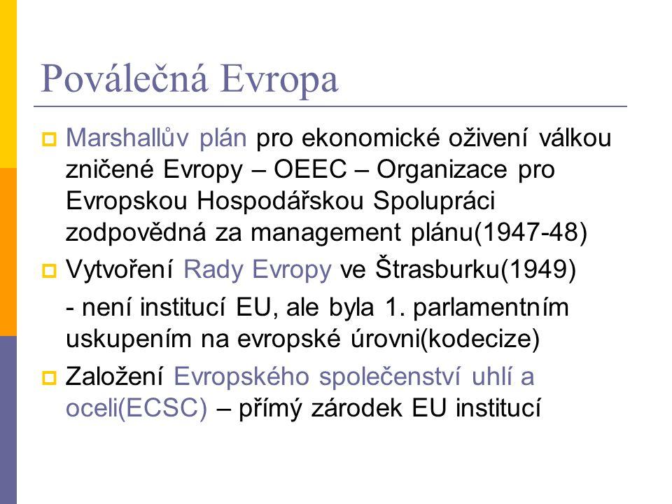 Poválečná Evropa  Marshallův plán pro ekonomické oživení válkou zničené Evropy – OEEC – Organizace pro Evropskou Hospodářskou Spolupráci zodpovědná z