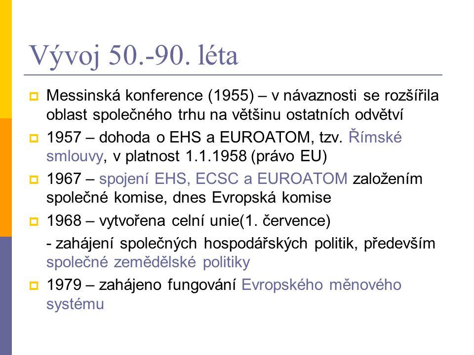 Vývoj 50.-90. léta  Messinská konference (1955) – v návaznosti se rozšířila oblast společného trhu na většinu ostatních odvětví  1957 – dohoda o EHS