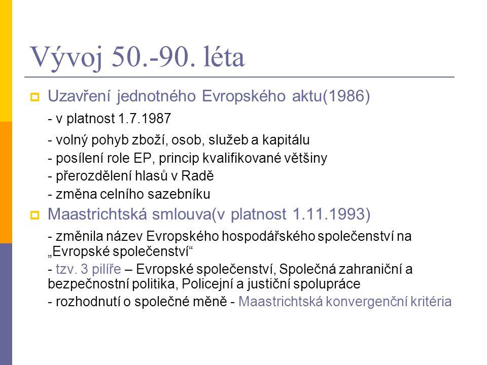Vývoj 50.-90. léta  Uzavření jednotného Evropského aktu(1986) - v platnost 1.7.1987 - volný pohyb zboží, osob, služeb a kapitálu - posílení role EP,