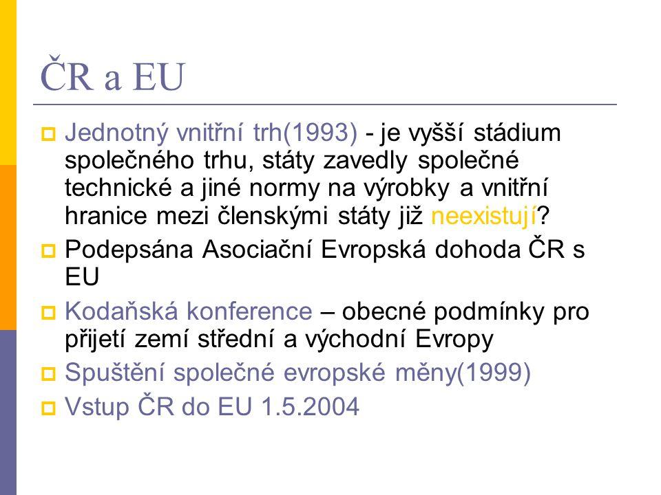 ČR a EU  Jednotný vnitřní trh(1993) - je vyšší stádium společného trhu, státy zavedly společné technické a jiné normy na výrobky a vnitřní hranice me