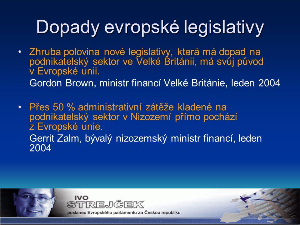 Dopady evropské legislativy Zhruba polovina nové legislativy, která má dopad na podnikatelský sektor ve Velké Británii, má svůj původ v Evropské unii.