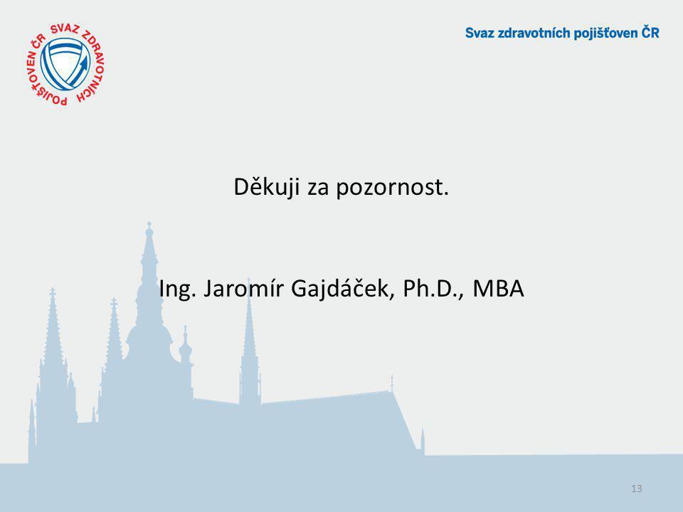 Děkuji za pozornost. Ing. Jaromír Gajdáček, Ph.D., MBA 13