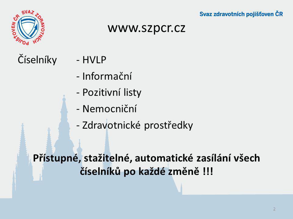 www.szpcr.cz Číselníky- HVLP - Informační - Pozitivní listy - Nemocniční - Zdravotnické prostředky Přístupné, stažitelné, automatické zasílání všech č