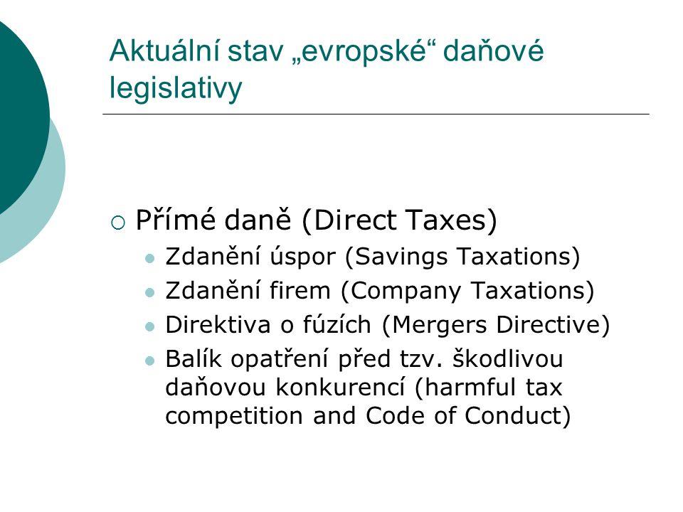 """ DPH (VAT)  Spotřební daně (Excise Taxes) Zdanění energií (Energy Taxation) Návrh zjednodušit a liberalizovat pravidla spotřebních daní (Proposal to simplify and liberalise the excise duty rules) Zpráva o zdanění alkoholu (Report on alcohol taxation) Aktuální stav """"evropské daňové legislativy"""