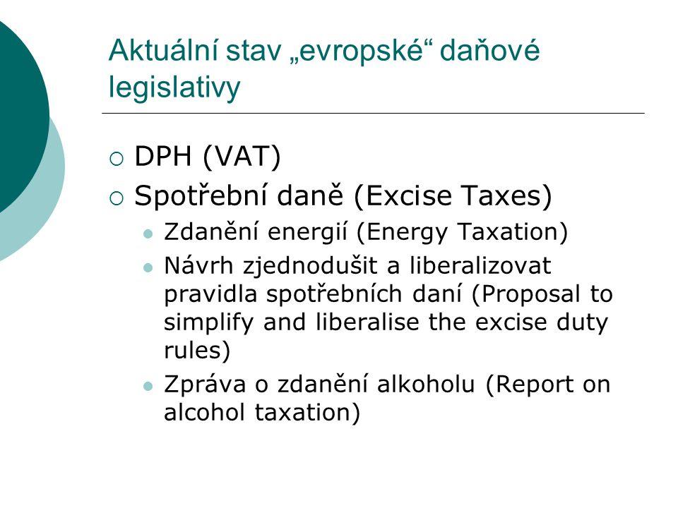""" Administrativní spolupráce proti daňovým podvodům (Tax avoidance and administrative cooperation against fraud) Aktuální stav """"evropské daňové legislativy"""