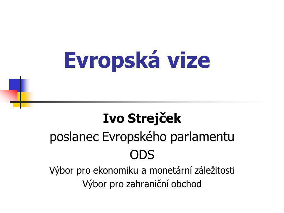 Evropská vize Ivo Strejček poslanec Evropského parlamentu ODS Výbor pro ekonomiku a monetární záležitosti Výbor pro zahraniční obchod