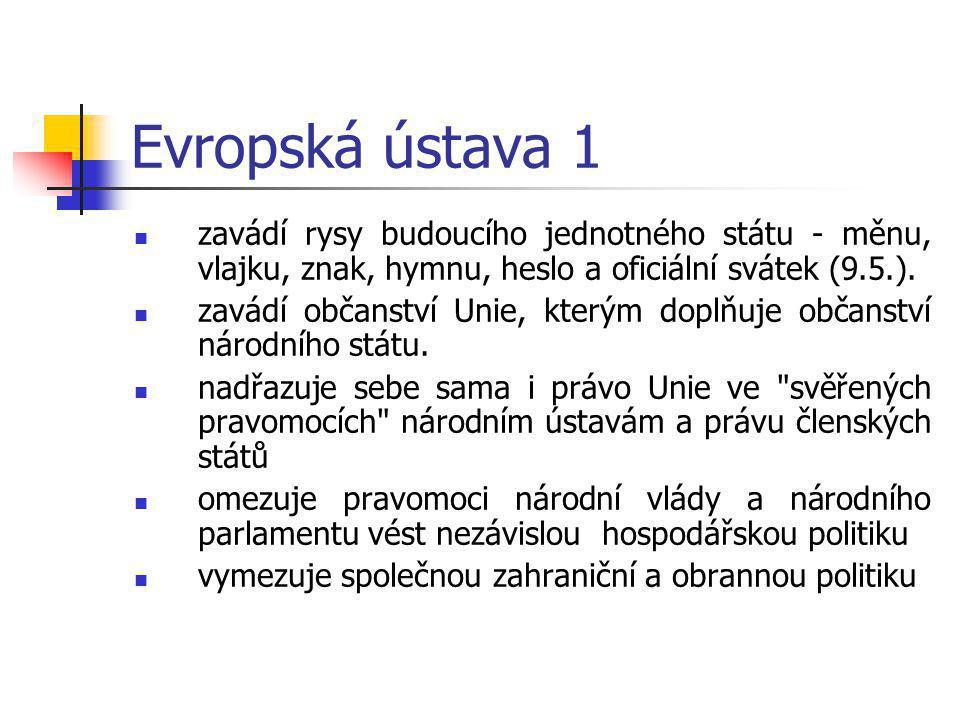 Evropská ústava 1 zavádí rysy budoucího jednotného státu - měnu, vlajku, znak, hymnu, heslo a oficiální svátek (9.5.).