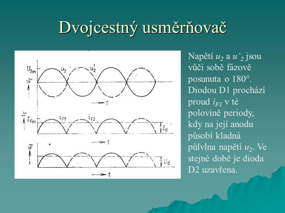 Dvojcestný usměrňovač Napětí u 2 a u' 2 jsou vůči sobě fázově posunuta o 180 . Diodou D1 prochází proud i F1 v té polovině periody, kdy na její anodu