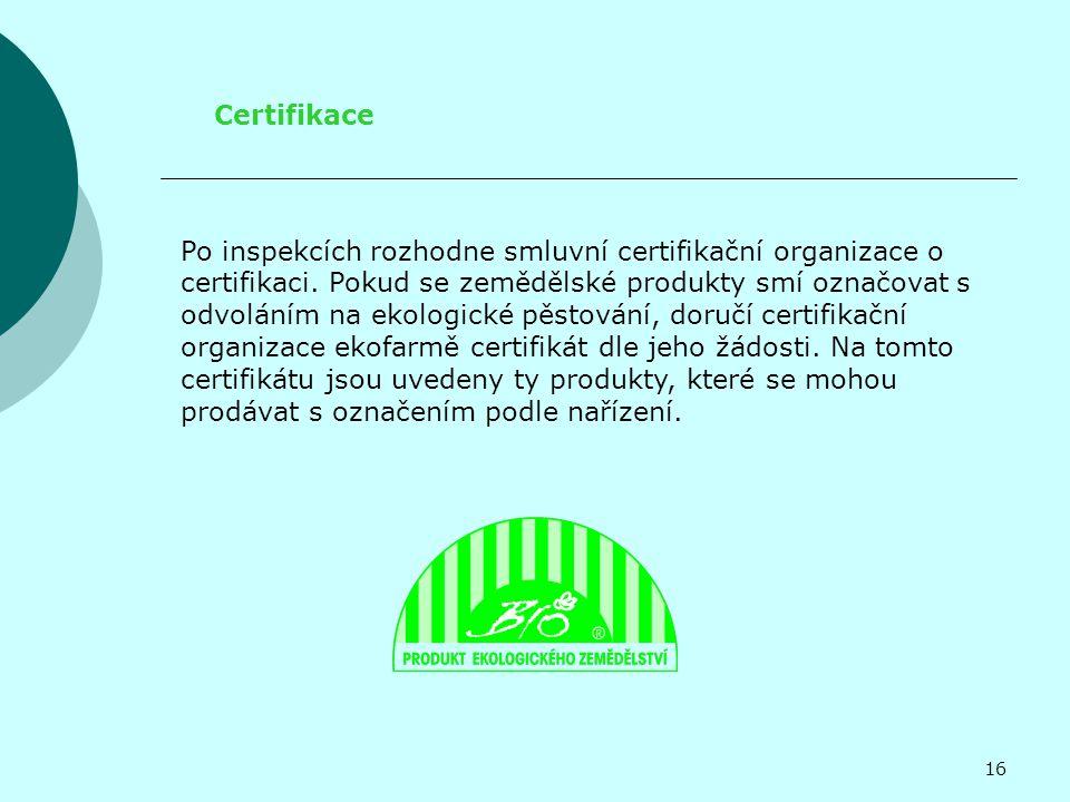 Certifikace Po inspekcích rozhodne smluvní certifikační organizace o certifikaci.