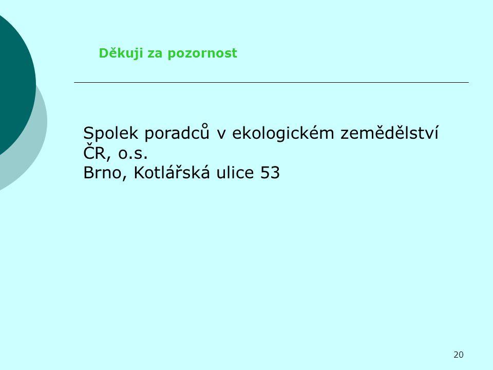 Děkuji za pozornost Spolek poradců v ekologickém zemědělství ČR, o.s. Brno, Kotlářská ulice 53 20