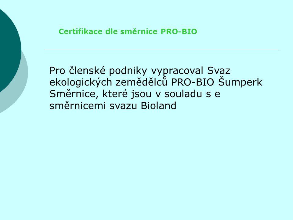 Certifikace dle směrnice PRO-BIO Pro členské podniky vypracoval Svaz ekologických zemědělců PRO-BIO Šumperk Směrnice, které jsou v souladu s e směrnicemi svazu Bioland