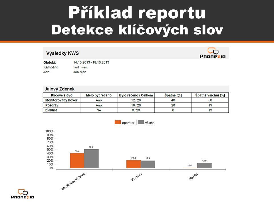 Příklad reportu Detekce klíčových slov