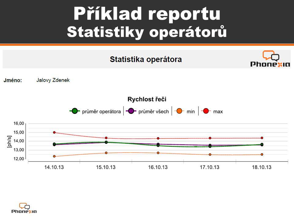 Příklad reportu Statistiky operátorů