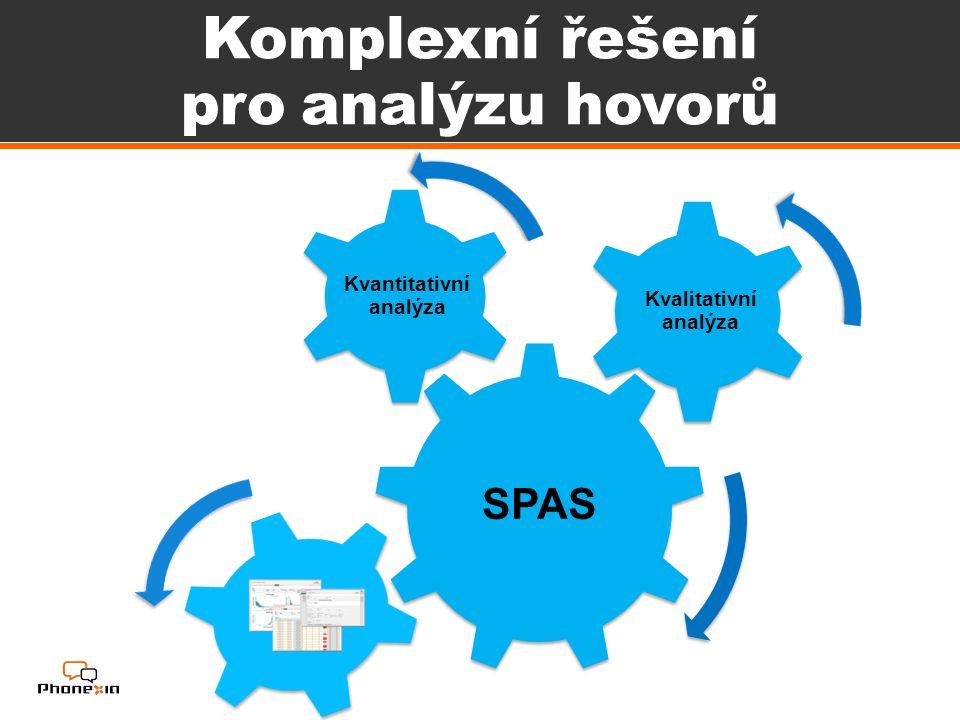 Komplexní řešení pro analýzu hovorů SPAS Kvantitativní analýza Kvalitativní analýza