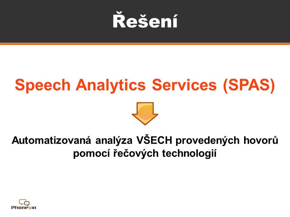 Řešení Speech Analytics Services (SPAS) Automatizovaná analýza VŠECH provedených hovorů pomocí řečových technologií