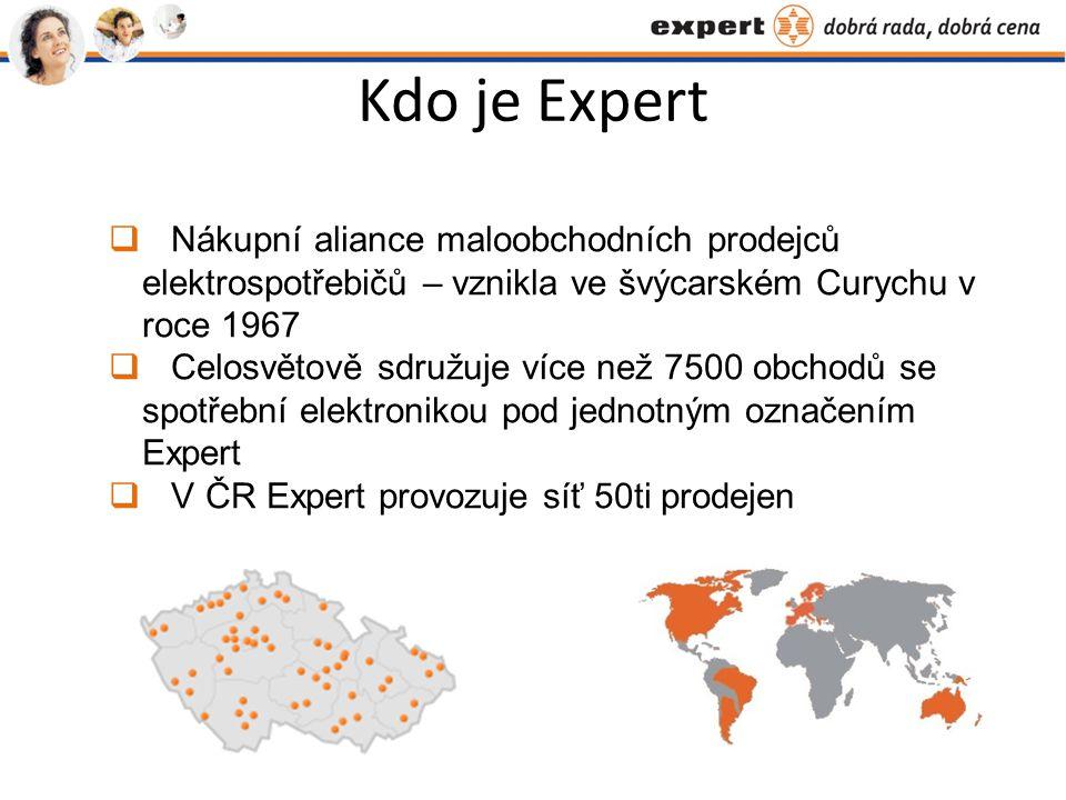 Kdo je Expert  Nákupní aliance maloobchodních prodejců elektrospotřebičů – vznikla ve švýcarském Curychu v roce 1967  Celosvětově sdružuje více než 7500 obchodů se spotřební elektronikou pod jednotným označením Expert  V ČR Expert provozuje síť 50ti prodejen
