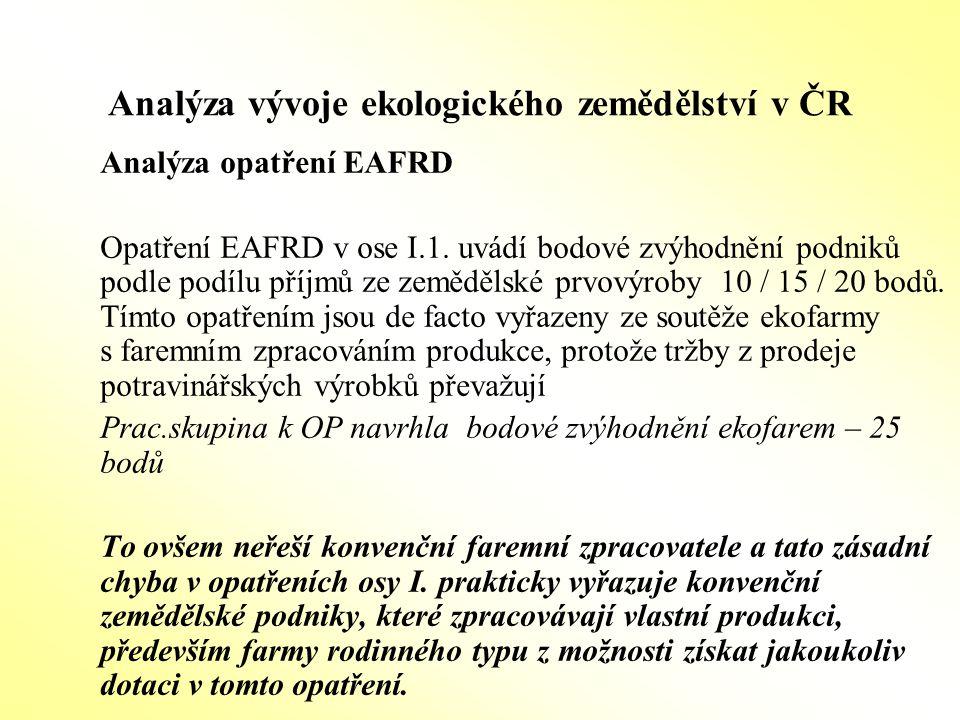 Analýza vývoje ekologického zemědělství v ČR Analýza opatření EAFRD Opatření EAFRD v ose I.1. uvádí bodové zvýhodnění podniků podle podílu příjmů ze z