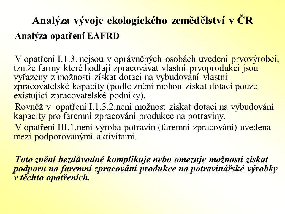 Analýza vývoje ekologického zemědělství v ČR Analýza opatření EAFRD V opatření I.1.3. nejsou v oprávněných osobách uvedeni prvovýrobci, tzn.že farmy k