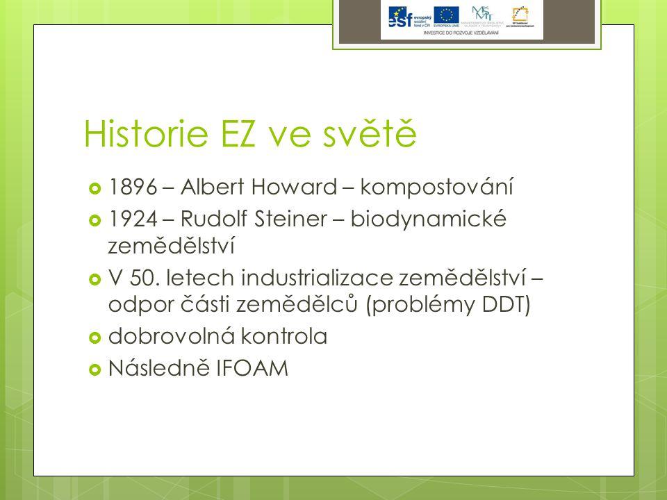 Historie EZ ve světě  1896 – Albert Howard – kompostování  1924 – Rudolf Steiner – biodynamické zemědělství  V 50.