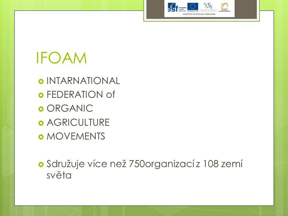 IFOAM  INTARNATIONAL  FEDERATION of  ORGANIC  AGRICULTURE  MOVEMENTS  Sdružuje více než 750organizací z 108 zemí světa