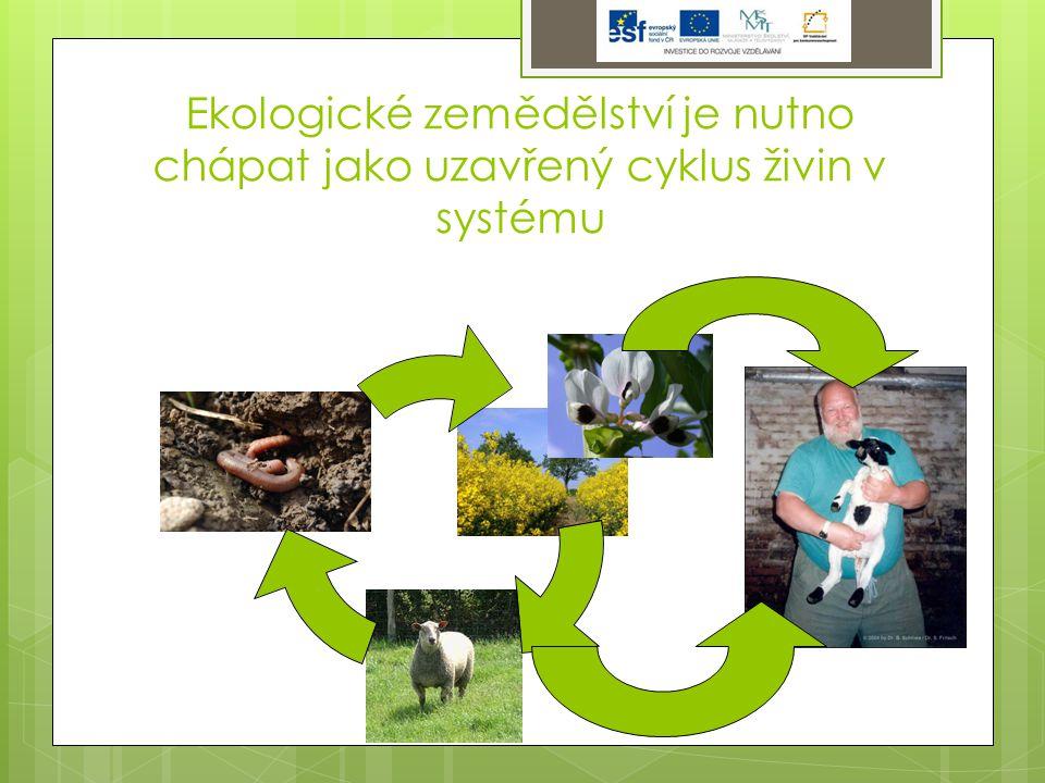 Ekologické zemědělství je nutno chápat jako uzavřený cyklus živin v systému