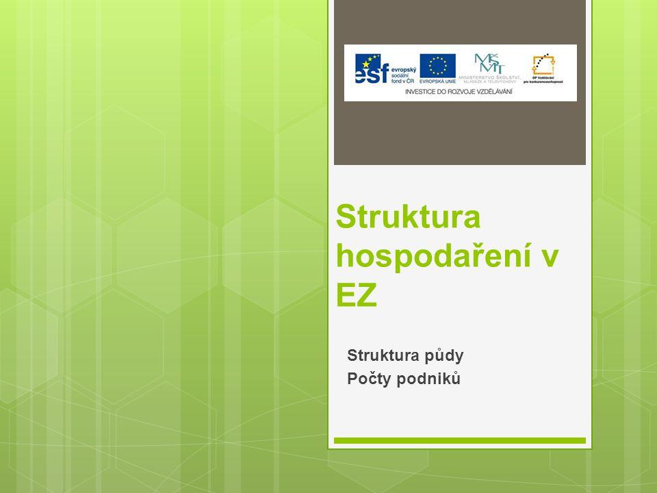 Struktura hospodaření v EZ Struktura půdy Počty podniků