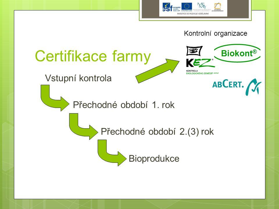 Certifikace farmy Vstupní kontrola Přechodné období 1.
