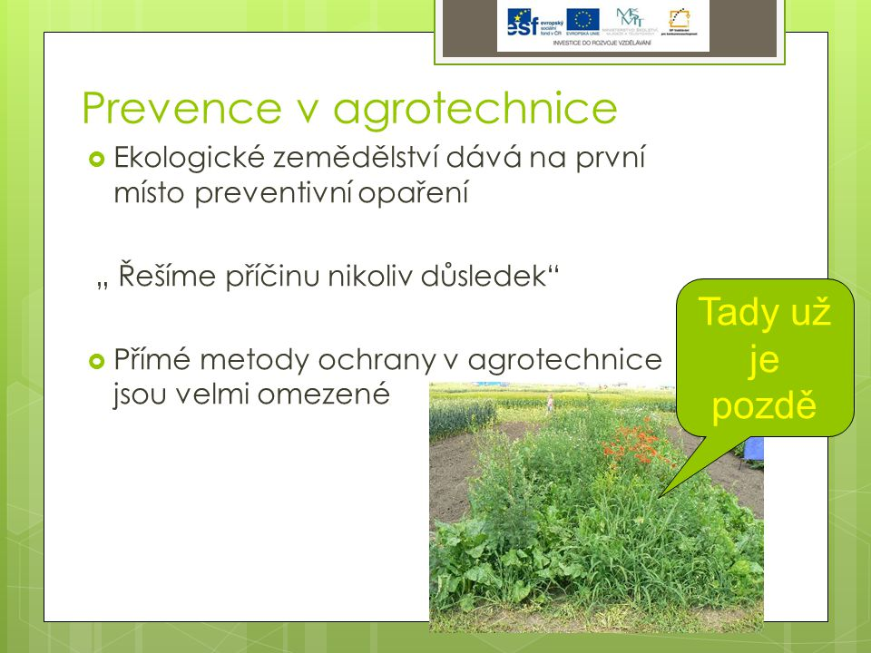 """Prevence v agrotechnice  Ekologické zemědělství dává na první místo preventivní opaření """" Řešíme příčinu nikoliv důsledek  Přímé metody ochrany v agrotechnice jsou velmi omezené Tady už je pozdě"""