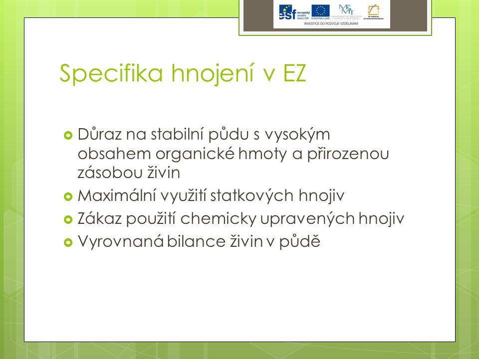 Specifika hnojení v EZ  Důraz na stabilní půdu s vysokým obsahem organické hmoty a přirozenou zásobou živin  Maximální využití statkových hnojiv  Zákaz použití chemicky upravených hnojiv  Vyrovnaná bilance živin v půdě
