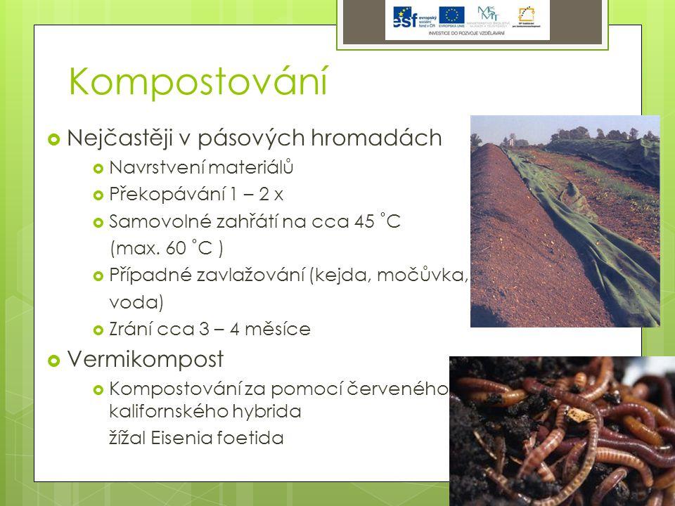 Kompostování  Nejčastěji v pásových hromadách  Navrstvení materiálů  Překopávání 1 – 2 x  Samovolné zahřátí na cca 45 ˚C (max.