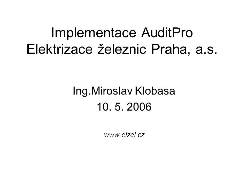 Implementace AuditPro Elektrizace železnic Praha, a.s. Ing.Miroslav Klobasa 10. 5. 2006 www.elzel.cz