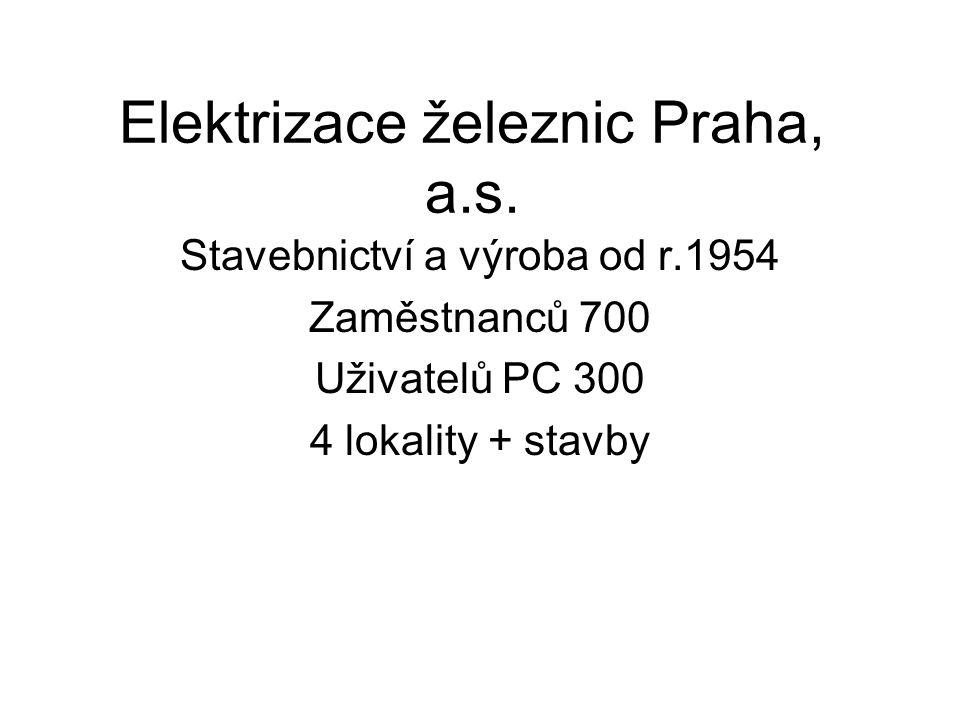 Elektrizace železnic Praha, a.s. Stavebnictví a výroba od r.1954 Zaměstnanců 700 Uživatelů PC 300 4 lokality + stavby