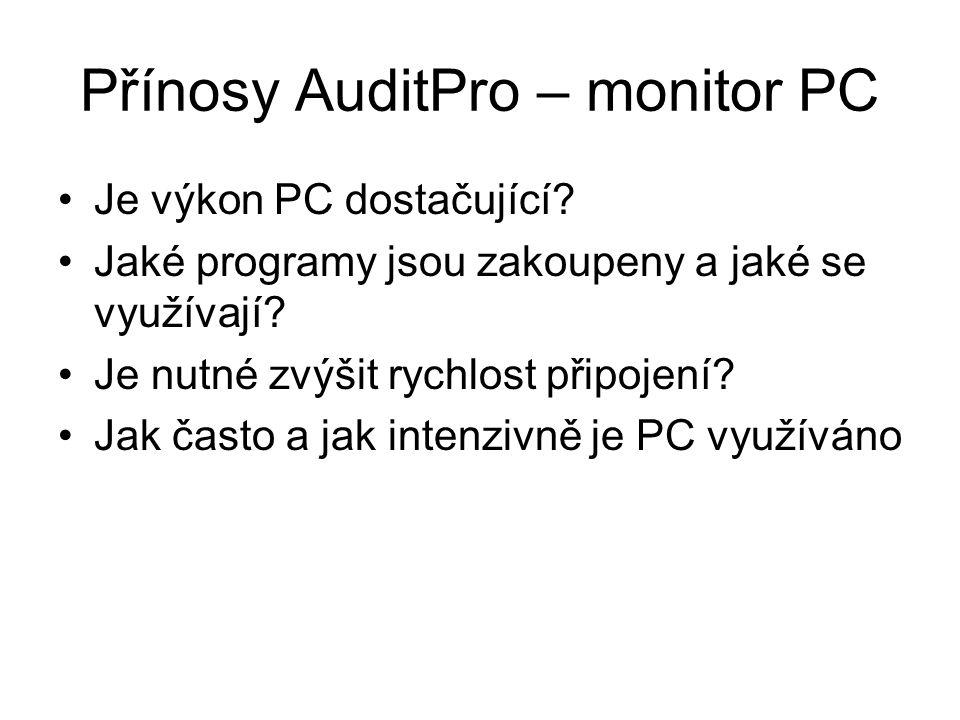 Topologie Obrázek od čápa Dopsat info k stanicím a serveru MS SQL 2005 HP ProLiant530 Nastavení stanice [Pripony-Programy] EXE, COM, DLL, OCX [Pripony-Data] MP3, MP2, AVI, MPG, WMA, WMV, WAV, MOV, JPG [NeauditovatAdresare] *\TEMP\ *\TEMPORARY INTERNET FILES\ *\SYSTEM VOLUME INFORMATION\ *\RECYCLER\ *\I386\ *\INSTALL\ *\DRIVERS\ Zasílání monitor PC 1x za den Scan HW a SW 1x za měsíc Konzole AuditPro Vedoucí IT - Sledování agregovaných statistik - Zprávy pro vedení společnosti Správce sítě -Podrobné reporty PC Evidence majetku, správa PC, správa SW