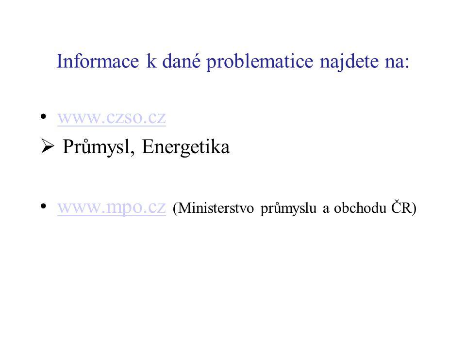 Informace k dané problematice najdete na: www.czso.cz  Průmysl, Energetika www.mpo.cz (Ministerstvo průmyslu a obchodu ČR)www.mpo.cz