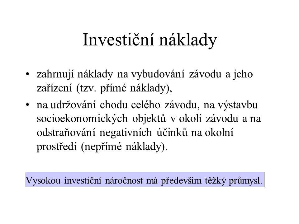 Investiční náklady zahrnují náklady na vybudování závodu a jeho zařízení (tzv.
