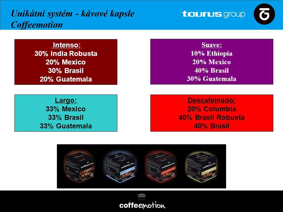 Intenso: 30% India Robusta 20% Mexico 30% Brasil 20% Guatemala Descafeinado: 20% Columbia 40% Brasil Robusta 40% Brasil Largo: 33% Mexico 33% Brasil 3