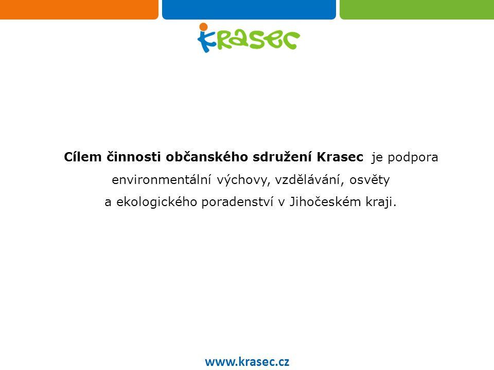 Občanského sdružení Krasec www.krasec.cz Občanské sdružení Krasec aktuálně sdružuje 16 organizací Jihočeského kraje 14 poskytuje EKOLOGICKÉ PORADENSTVÍ 11 realizuje ENVIRONMENTÁLNÍ VÝUKOVÉ PROGRAMY