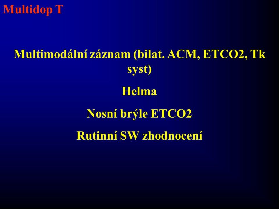 Multidop T Multimodální záznam (bilat. ACM, ETCO2, Tk syst) Helma Nosní brýle ETCO2 Rutinní SW zhodnocení