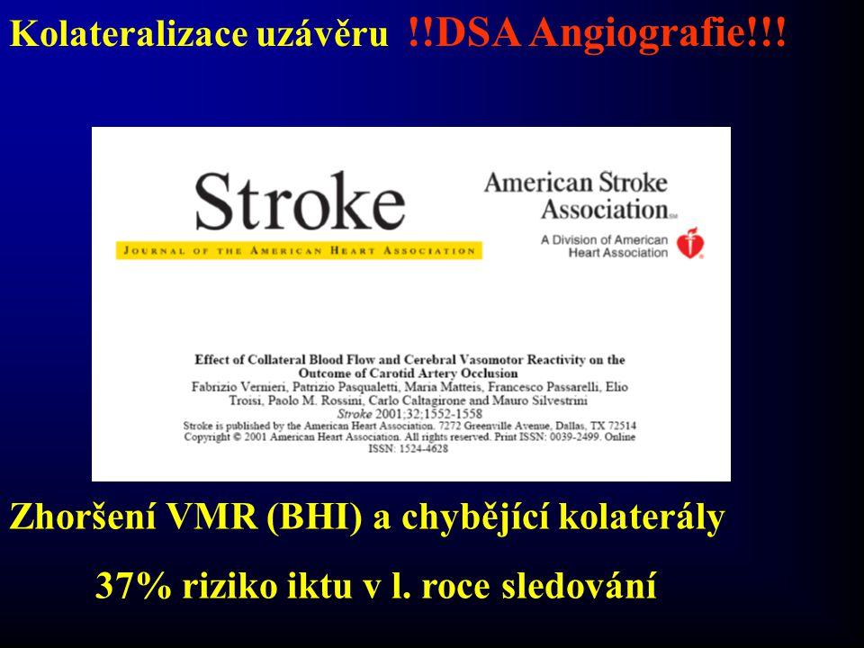 Kolateralizace uzávěru !!DSA Angiografie!!! Zhoršení VMR (BHI) a chybějící kolaterály 37% riziko iktu v l. roce sledování