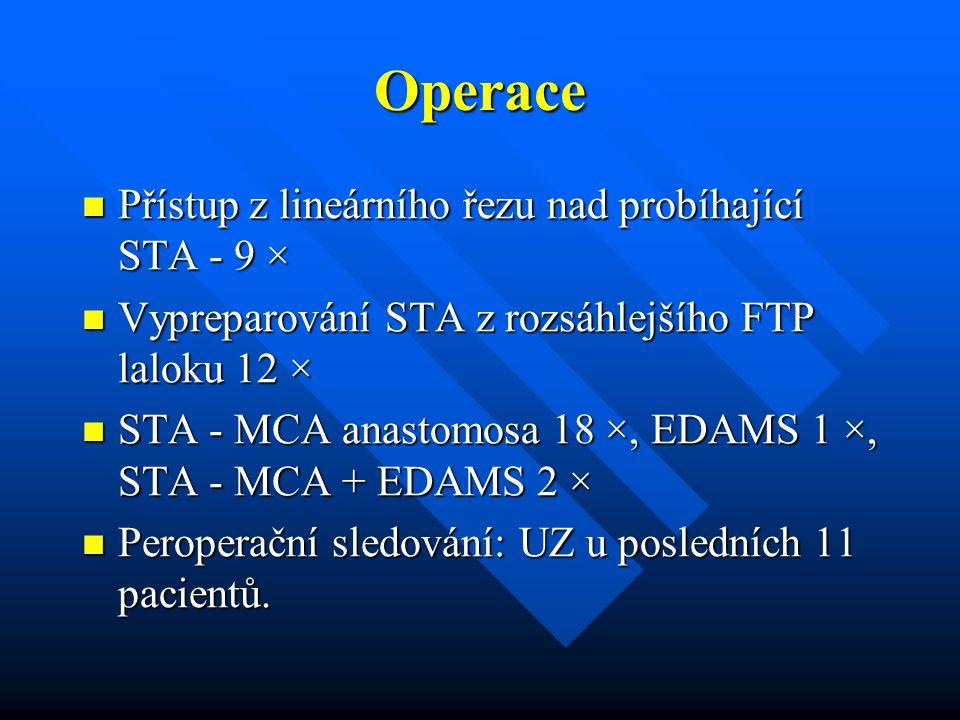 Operace Přístup z lineárního řezu nad probíhající STA - 9 × Přístup z lineárního řezu nad probíhající STA - 9 × Vypreparování STA z rozsáhlejšího FTP
