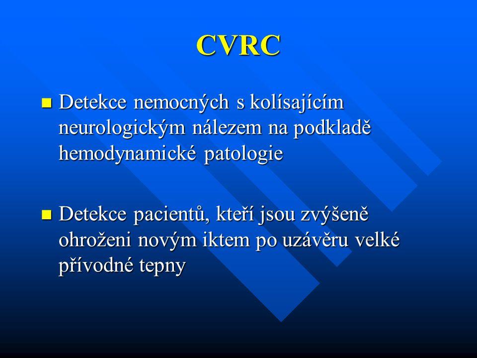 CVRC Detekce nemocných s kolísajícím neurologickým nálezem na podkladě hemodynamické patologie Detekce nemocných s kolísajícím neurologickým nálezem n