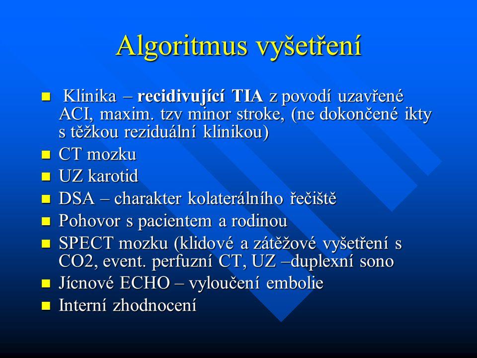 Algoritmus vyšetření Klinika – recidivující TIA z povodí uzavřené ACI, maxim. tzv minor stroke, (ne dokončené ikty s těžkou reziduální klinikou) Klini