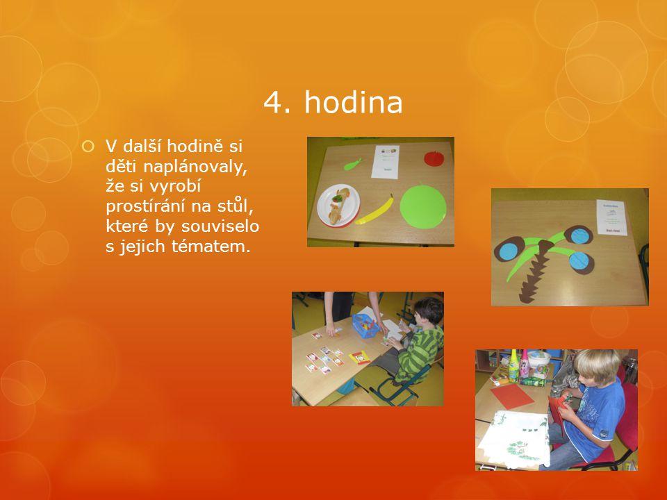 4. hodina  V další hodině si děti naplánovaly, že si vyrobí prostírání na stůl, které by souviselo s jejich tématem.
