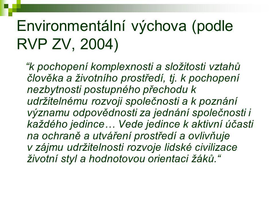 Environmentální výchova (podle RVP ZV, 2004) k pochopení komplexnosti a složitosti vztahů člověka a životního prostředí, tj.