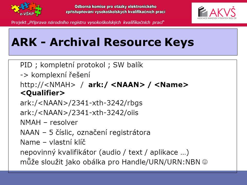 """Projekt """"Příprava národního registru vysokoškolských kvalifikačních prací Persistent URLs - PURLs  PURL ::=  resoluční služba URL přesměruje na zdrojový server, který se může měnit"""