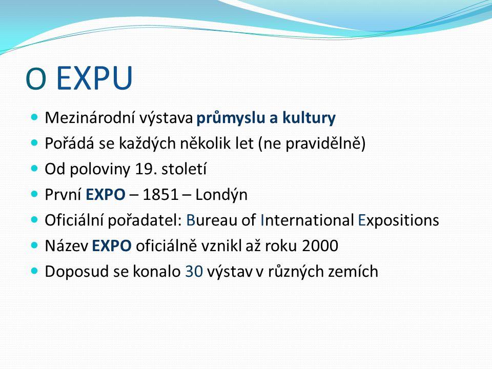 O EXPU Mezinárodní výstava průmyslu a kultury Pořádá se každých několik let (ne pravidělně) Od poloviny 19.