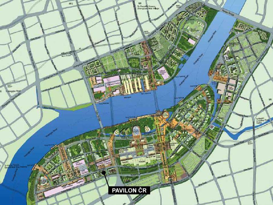 Výstavní areál Velikost: 5,3 km² Pavilony rozmístěny v pěti sekcích dle geografické příslušnosti Celým areálem vede komunikační tepna Walking Highway V bezprostřední blízkosti se nacházejí 4 linky metra, dálnice a přístav.
