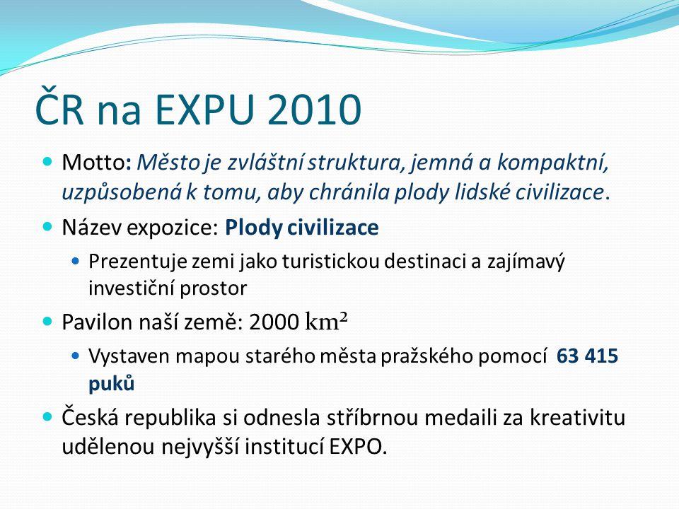 ČR na EXPU 2010 Motto: Město je zvláštní struktura, jemná a kompaktní, uzpůsobená k tomu, aby chránila plody lidské civilizace.