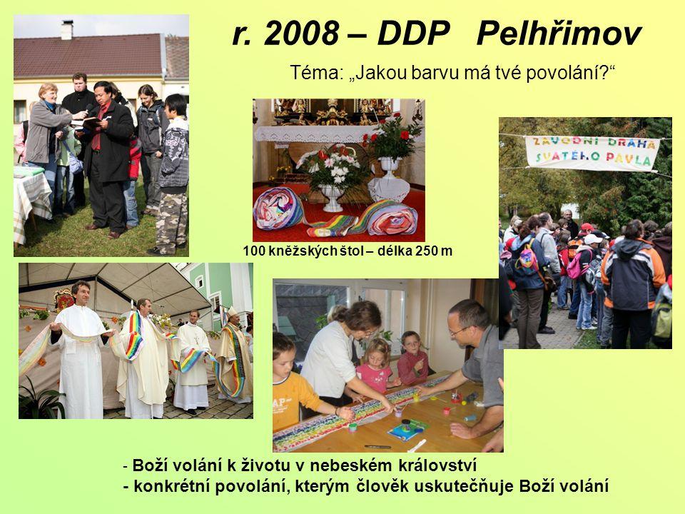 """r. 2008 – DDP Pelhřimov Téma: """"Jakou barvu má tvé povolání?"""" 100 kněžských štol – délka 250 m - Boží volání k životu v nebeském království - konkrétní"""